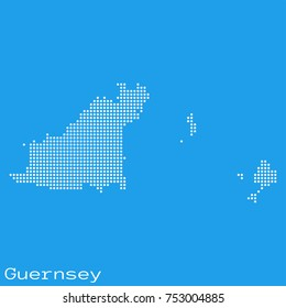 Vector Guernsey map silhouette dotted on blue background