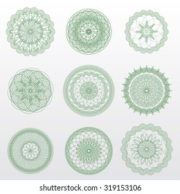 Vector guilloche rosettes. Use for banknote, diploma, certificate, note, currency, voucher or money design. Eps 10.