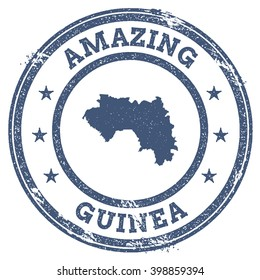 Vector Guinea travel stamp. Vintage amazing Guinea travel stamp with map outline. Guinea travel round grunge sticker with country map.