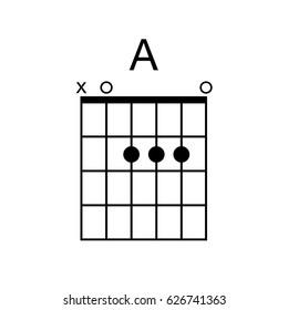 Vector Guitar Chord. A chord diagram. Tab. Tabulation. Tablature. Finger Chart. Basic Guitar Chords. Guitar Lesson. Guitar Cord.