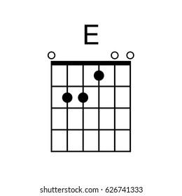 Vector Guitar Chord. E chord diagram. Tab. Tabulation. Tablature. Finger Chart. Basic Guitar Chords. Guitar Lesson. Guitar Cord.