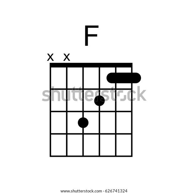vector guitar chord  f chord diagram  tab  tabulation  tablature  finger  chart