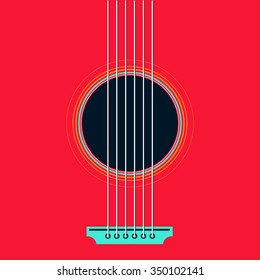 Vector guitar flat style illustration. Music instrument abstract graphic design, colorful and vivid