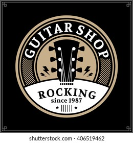 Vector guitar shop logo. Music icon for audio store, poster or t-shirt  print