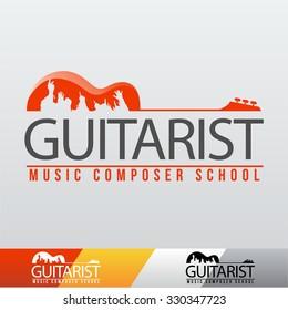 Vector Guitarist Music School Logo
