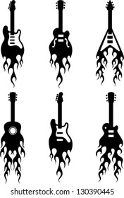 vector guitars with flames silhouettes