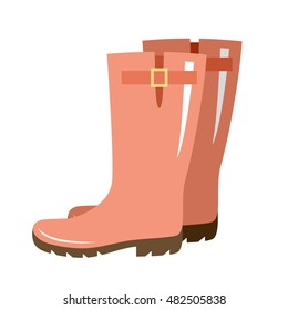 Vector gumboots of red color