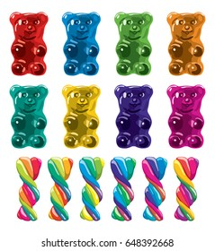vector gummy bear candies and twisted lollies isolated on white background.