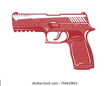 Vector gun for design. Engraved drawing of military weapons