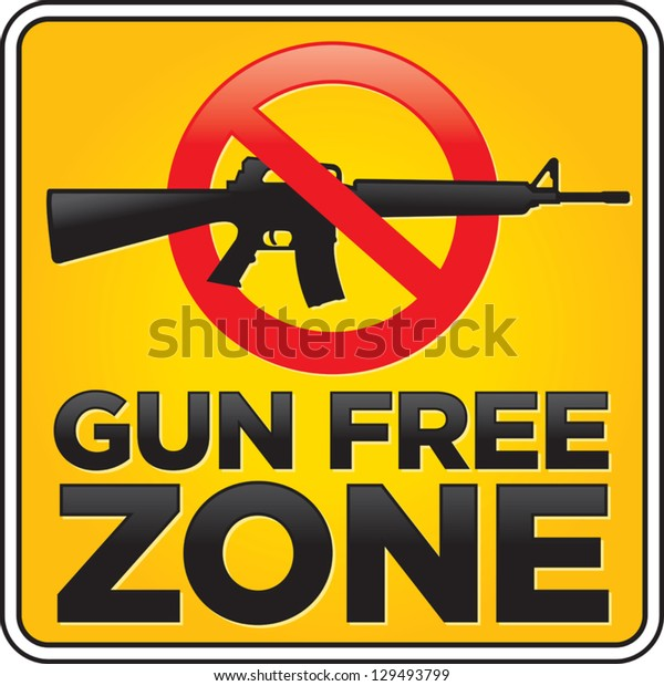 Vector Gun Free Zone assault rifle street and building sign