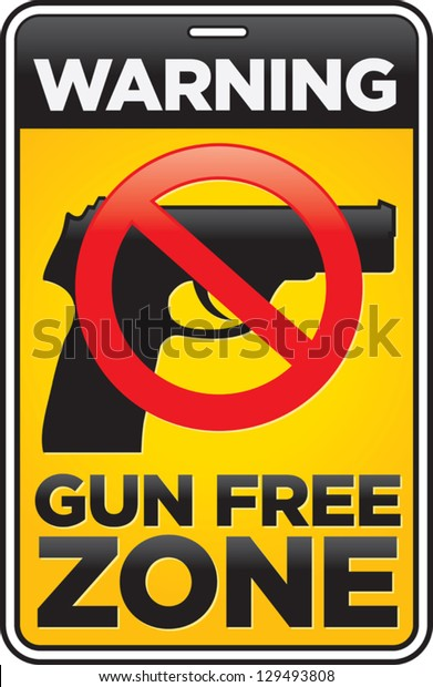 Vector Gun Free Zone street and building sign