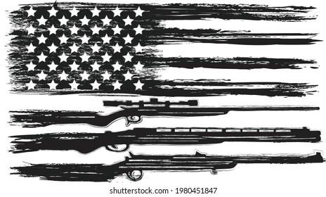 Vector Of The Gun USA Flag