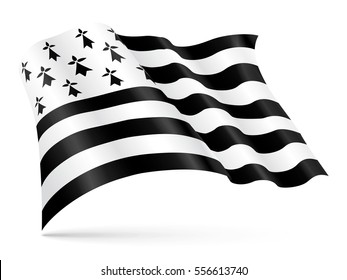 Vector Gwen-ha-Du (black and white) flag of Brittany waving on wind