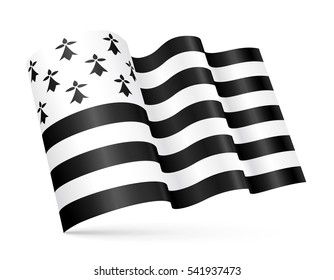 Vector Gwen-ha-du (black-and-white) 3D Breton waving flag isolated on white background