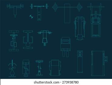 Vector gym equipment set top view