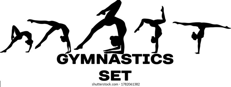 vector gymnastics girl sport body