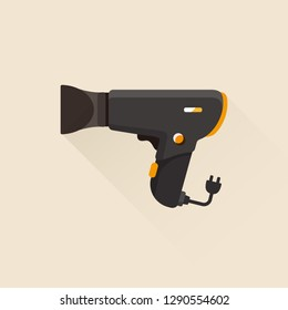 vector hairdryer, blowdryer with nozzle / hair drying symbol / isolated, sign and icon template