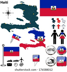 Vector of Haiti set with detailed country shape with region borders, flags and icons