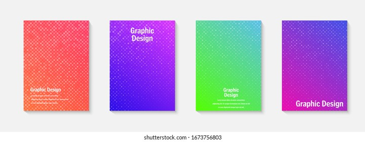 Vector halftone cover design templates. Layout set for covers of books, albums, notebooks, reports, magazines. Dot halftone gradient effect, modern abstract design. Geometric mock-up texture