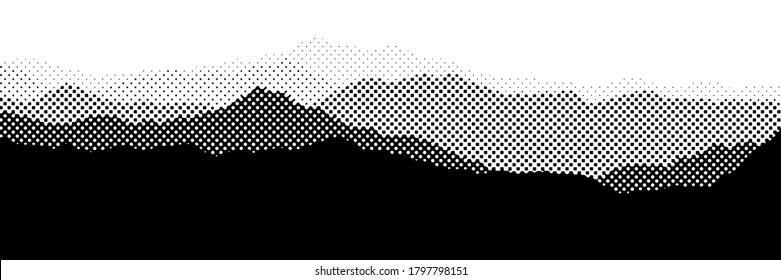 Vector halftone dots background, fading dot effect. Imitation of a mountain landscape, banner, shades of gray.