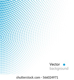 Vector halftone dots. blue dots on white background.