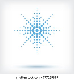 Vector halftone dots in the form of a snowflake