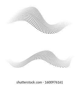 Vector halftone dots shapes. Dynamic waves form.
