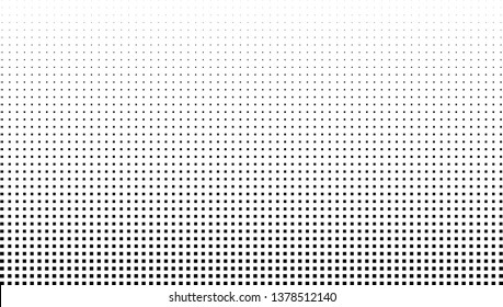 Vector halftone effect background. Monochrome square dots gradient
