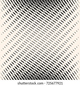 Vector halftone mesh seamless pattern. Abstract graphic texture with rhombuses, dash lines, grid, net, delicate lattice. Monochrome background with gradient transition effect. Modern stylish design