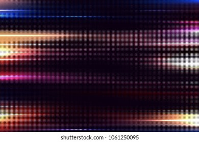 Vector halftone motion blur effect. Nightlife, and speed concept. Abstract lights and glows on dark background.