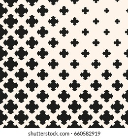 Vector halftone pattern with floral shapes, carved crosses. Monochrome texture with gradually transition effect in corner. Modern abstract background. Square design element for prints, covers, decor