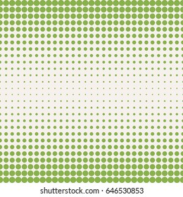 Vector halftone pattern in trendy colors, greenery and beige. Seamless background texture with different circles and dots, gradually transition. Design for prints, covers, decor, textile, digital, web