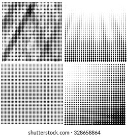 Vector Halftone Patterns.  Dots on White Background. Comic Book Texture