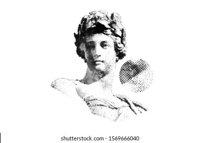 Vector Halftone Sculpture of Woman bust. Universal Dotted Halftone Graphic Element for your design