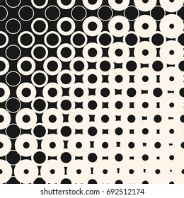 Vector halftone seamless pattern with morphing geometric shapes, circles and squares. Half tone abstract monochrome background. Diagonal gradient transition effect. Stylish modern design element
