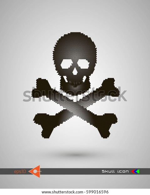 Vector halftone skulls. Skull icon. Symbol of death, danger, war, death, pirate. Object on a white background.