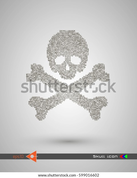 Vector halftone skulls. Skull icon. Symbol of death, danger, war, death, pirate. Object on a white background. Lettering