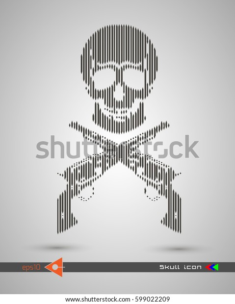 Vector halftone skulls. Skull icon. Symbol of death, danger, war, death, pirate. Object on a white background. Weapon, revolver, pistol.
