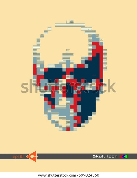 Vector halftone skulls. Skull icon. Symbol of death, danger, war, death, pirate. Object on a yellow background. Colored pixels. Flat style.