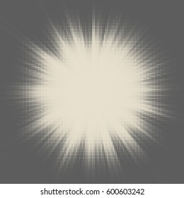 Vector halftone starburst design. Retro sun illustration