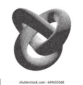 Vector Halftone Stippled Geometric Figure Illustration - 3D Infinity Torus Knot Loop