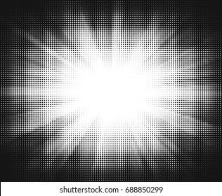 Vector halftone sun-ray background. Retro style abstract sunburst design.