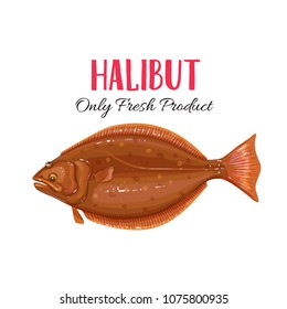 Vector Halibut. Icon badge flounder fish for design seafood packaging and market.