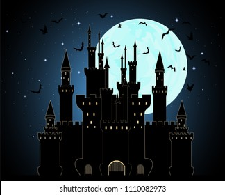 Vector Halloween background with Dracula castle in the mountains with flying bats and full moon sky