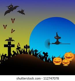 Vector Halloween background with terrible bat and pumpkins