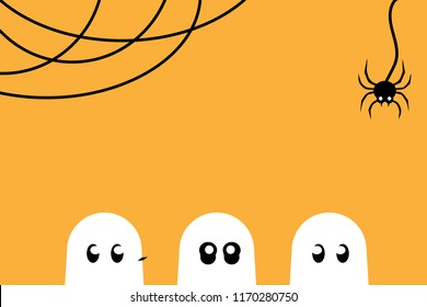 Vector Halloween background with three ghost hiding and black spider in orange background. Ghost vector
