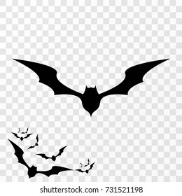 vector halloween bat icon isolated on transparent background. vector bat silhouette