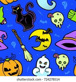 vector halloween blue seamless pattern