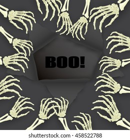 Vector Halloween Boo background on dark with skeleton arm for promotional, party, sale offers, invitations design, banners.