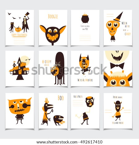 Vector halloween cards set funny monsters stock vector royalty free vector halloween cards set with funny monsters cartoon illustration for posters party invitations m4hsunfo